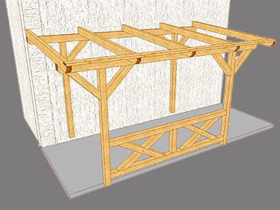 3D-Visualisierung eines Carports, Zaspel-Dach